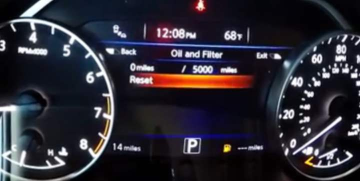 Nissan Info Display Reset Oil Life