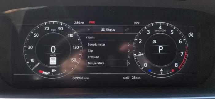 Ranger Rover Temperature Menu
